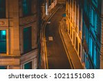 lone street in london at night... | Shutterstock . vector #1021151083