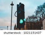 green traffic light in london | Shutterstock . vector #1021151437