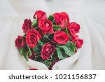honeymoon bed look like heart... | Shutterstock . vector #1021156837