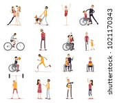 disabled people icons set with... | Shutterstock . vector #1021170343
