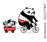 cute cartoon panda rides a... | Shutterstock .eps vector #1021177837