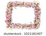 flower frame wreath pattern... | Shutterstock . vector #1021181407