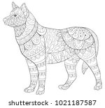 adult coloring page book a cute ... | Shutterstock .eps vector #1021187587