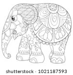 adult coloring page book a cute ... | Shutterstock .eps vector #1021187593