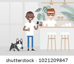cozy coffee shop. modern... | Shutterstock .eps vector #1021209847