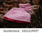 kid cotton hat and tube scarf | Shutterstock . vector #1021219057