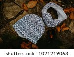 kid cotton hat and tube scarf | Shutterstock . vector #1021219063
