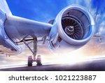 modern jet engine | Shutterstock . vector #1021223887