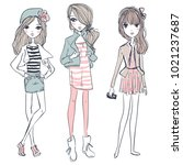 cute cartoon hipster girls | Shutterstock .eps vector #1021237687