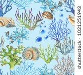 hand drawn watercolor sea... | Shutterstock . vector #1021251943
