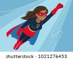 superhero woman in flight.... | Shutterstock .eps vector #1021276453