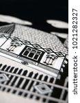 traditional rural house  black... | Shutterstock . vector #1021282327