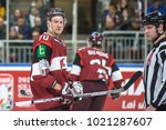 Small photo of 04.02.2018. RIGA, LATVIA. Miks Indrasis, during Exhibition game between Canada National ice hockey team and National ice hockey team of Latvia at Arena Riga.