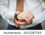 ring on a finger | Shutterstock . vector #1021287763
