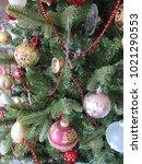 multiple christmas ornaments on ... | Shutterstock . vector #1021290553