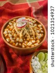 Small photo of Mexican Pozole Traditional corn grain soup enjoyed in Mexico made with several chilies