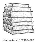 stack of books illustration ... | Shutterstock .eps vector #1021324387