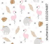 Stock vector cute pastel seamless pattern with african animals and gold tropical leaves vector hand drawn 1021324687