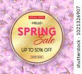 spring sale gold banner on pink ... | Shutterstock . vector #1021326907