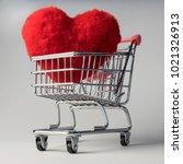 heart shape red fluffy soft... | Shutterstock . vector #1021326913