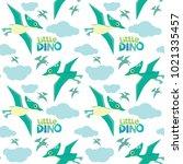 cute little dino pterodactyl... | Shutterstock .eps vector #1021335457