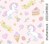 cute white unicorns and sweets... | Shutterstock .eps vector #1021345813