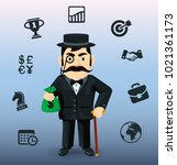 business man and icon business... | Shutterstock .eps vector #1021361173