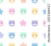 seamless pattern of cute pastel ... | Shutterstock . vector #1021366417