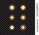 set of stars and lights  vector ... | Shutterstock .eps vector #1021368967