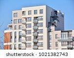 facade of a modern apartment... | Shutterstock . vector #1021382743