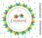 2018 carnaval funfair card with ... | Shutterstock .eps vector #1021410913