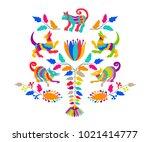 vector folk mexican otomi style ... | Shutterstock .eps vector #1021414777