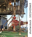 Small photo of BOP from jack up rig set on main deck of wellhead platform