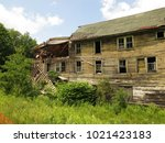large  unsafe abandoned...   Shutterstock . vector #1021423183