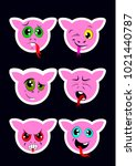 set of isolated emoji faces... | Shutterstock . vector #1021440787