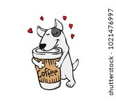 dog i love coffee | Shutterstock . vector #1021476997