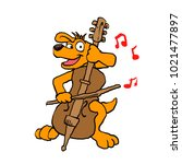 dog playing cello | Shutterstock . vector #1021477897
