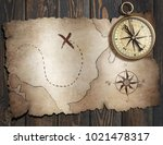 old treasure pirates' map with... | Shutterstock . vector #1021478317