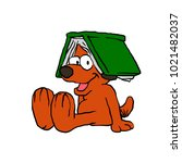 dog with book on head | Shutterstock . vector #1021482037
