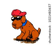 dog with hat and glasses | Shutterstock . vector #1021483657