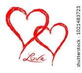 grunge sketch hand drawn red... | Shutterstock .eps vector #1021483723