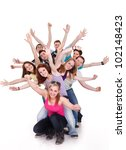Small photo of Smiling group of young friends having fun with outstretched arms