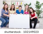 group of young people holding ... | Shutterstock . vector #102149023