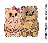 grated bear couple cute animal... | Shutterstock .eps vector #1021500907