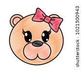 grated female bear head cute... | Shutterstock .eps vector #1021500943