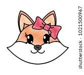 grated female fox head cute... | Shutterstock .eps vector #1021500967
