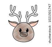 grated reindeer head cute... | Shutterstock .eps vector #1021501747