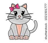grated female cat cute animal... | Shutterstock .eps vector #1021501777