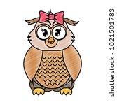 grated female owl cute animal... | Shutterstock .eps vector #1021501783