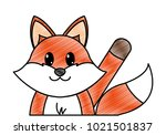 grated fox cute animal with... | Shutterstock .eps vector #1021501837